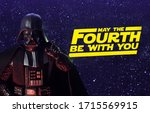 Small photo of APRIL 26 2020: Star Wars Day concept - May the Fourth Be With You with Darth Vader - Hasbro action figure