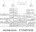 grocery store shop interior... | Shutterstock .eps vector #1715607628