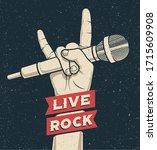 rock hand gesture holding... | Shutterstock .eps vector #1715609908