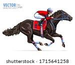 Jockey On Racing Horse. Sport....