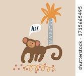 cute cartoon monkey vector... | Shutterstock .eps vector #1715665495