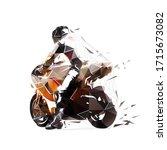 motorbike rider  read view. low ... | Shutterstock .eps vector #1715673082