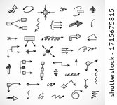 vector set of hand drawn arrows ... | Shutterstock .eps vector #1715675815