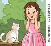 "Illustration ""Little girl delighted with a white Katenka"""