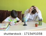 boy with father doing homework... | Shutterstock . vector #1715691058