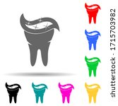 toothpaste on tooth multi color ...