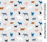 seamless pattern. dogs of... | Shutterstock .eps vector #1715710282