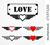 military style love emblems... | Shutterstock .eps vector #171571232