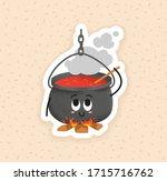 happy black cauldron on the... | Shutterstock .eps vector #1715716762