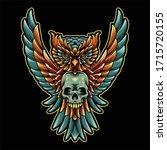 owl and skull illustration... | Shutterstock .eps vector #1715720155