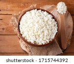 Cottage Cheese On A Wooden...