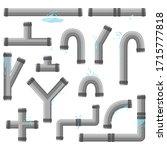 pipe with leaking water. broken ... | Shutterstock .eps vector #1715777818
