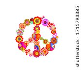 fashion colorful print with... | Shutterstock .eps vector #1715793385