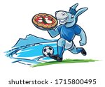 donkey plays football and... | Shutterstock .eps vector #1715800495