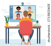video conference with people... | Shutterstock .eps vector #1715825605