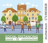 social distancing and from... | Shutterstock .eps vector #1715833828