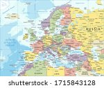 europe map   color detailed... | Shutterstock .eps vector #1715843128