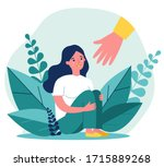 young woman getting help and... | Shutterstock .eps vector #1715889268