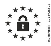 europe lockdown icon. padlock... | Shutterstock .eps vector #1715926528