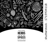 herbs and spices hand drawn... | Shutterstock .eps vector #1715934118