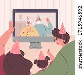 birthday party in birthday cap...   Shutterstock .eps vector #1715946592