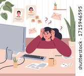 girl working remotely during... | Shutterstock .eps vector #1715946595