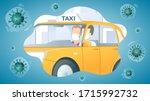 masked man passenger in taxi... | Shutterstock .eps vector #1715992732