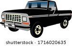Black Retro Custom Pickup Truck