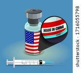 syringe and antidote bottle for ... | Shutterstock .eps vector #1716055798