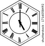 hexagon clock vector design 5 o'...