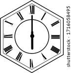 hexagon clock vector design 6 o'...