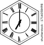 hexagon clock vector design 7 o'...