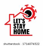 let's stay home icon with house ... | Shutterstock .eps vector #1716076522