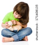 Stock photo little girl stroking kitten isolated on white background 171608135