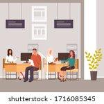 people taking credit loan...   Shutterstock .eps vector #1716085345