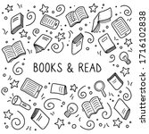 hand drawn set of book doodle... | Shutterstock .eps vector #1716102838