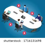 social distancing poster for... | Shutterstock .eps vector #1716131698