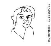 linear portrait of woman black... | Shutterstock .eps vector #1716169732