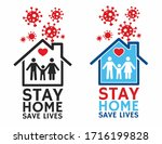 stay home stay safe quarantine... | Shutterstock .eps vector #1716199828