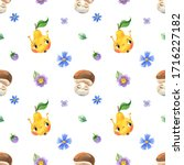 colorful cartoon tropical... | Shutterstock . vector #1716227182