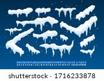 snow caps  falling snow and... | Shutterstock .eps vector #1716233878