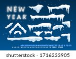 snow caps  falling snow and... | Shutterstock .eps vector #1716233905
