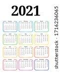 calendar for 2021 isolated on a ...