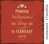 happy valentines day card... | Shutterstock .eps vector #171625016