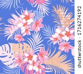 seamless exotic pattern with... | Shutterstock .eps vector #1716274192