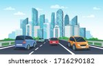 cars on highway to town. city... | Shutterstock . vector #1716290182