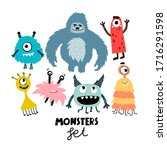 Set With Cartoon Monsters....