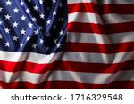 Usa Flag Background With Copy...