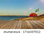 Red Swedish House With Wooden...
