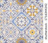 azulejos tiles patchwork. hand...   Shutterstock .eps vector #1716344242